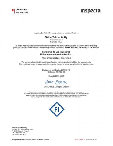 Inspecta Certificate No. 2867-02, Fastenings for use in Concrete Lifting anchors, import and delivery
